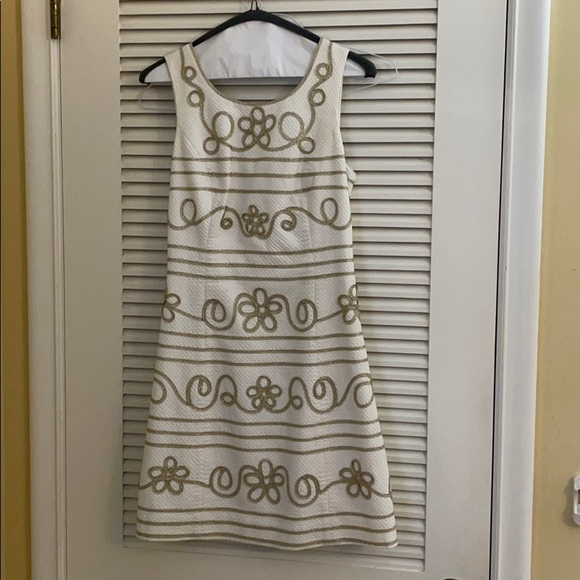 Lilly Pulitzer Size 4 White & Gold Dress